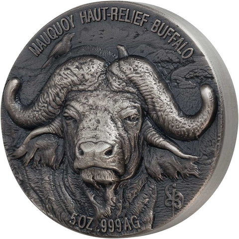 2020 Ivory Coast 5 Ounce African Big 5 Water Buffalo Mauquoy Mint High Relief Silver Proof Coin
