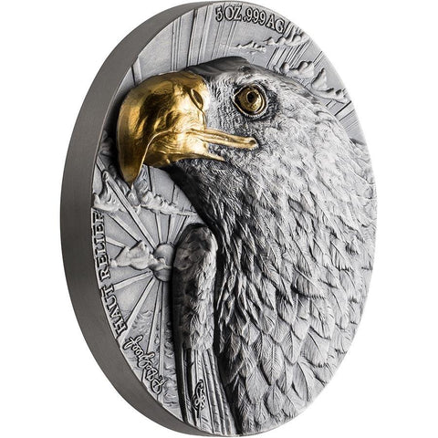 2020 Ivory Coast 5 Ounce P. De Greef Edition Signature Eagle Silver Coin Gold Profile
