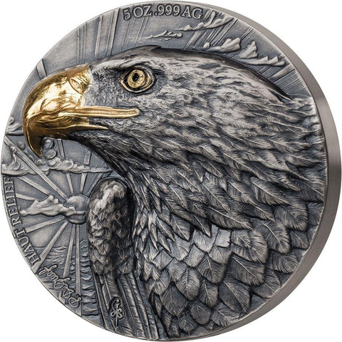 2020 Ivory Coast 5 Ounce P. De Greef Edition Signature Eagle Silver Coin Gold