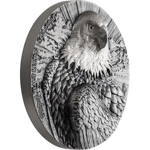 2020 Ivory Coast 5 Ounce P. De Greef Edition Signature Eagle Silver Coin Rhodium Profile
