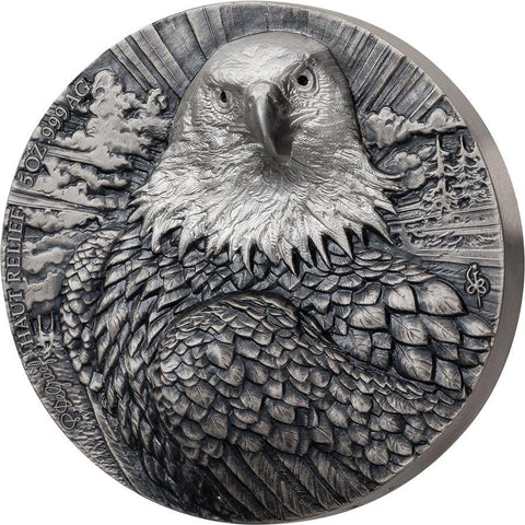 2020 Ivory Coast 5 Ounce P. De Greef Edition Signature Eagle Silver Coin Rhodium