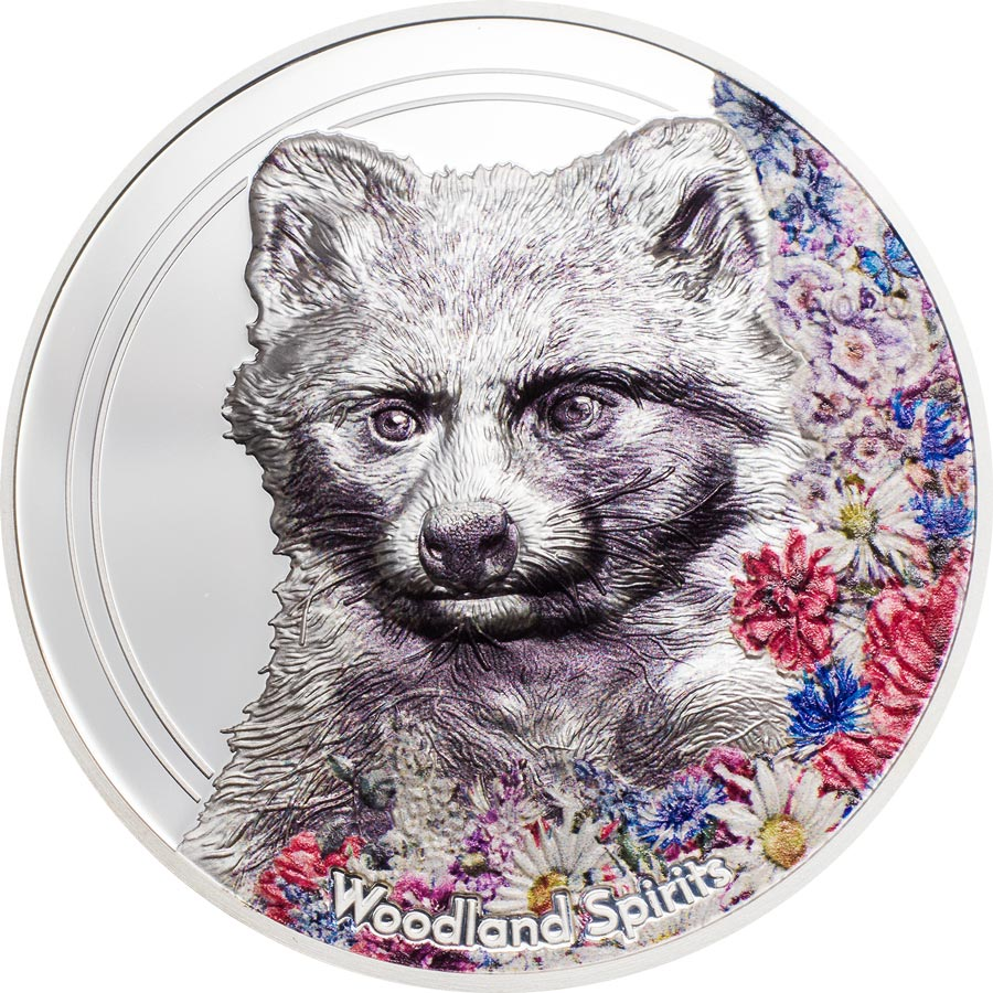 2020 Mongolia Woodland Spirits Raccoon Dog High Relief Silver Proof Coin