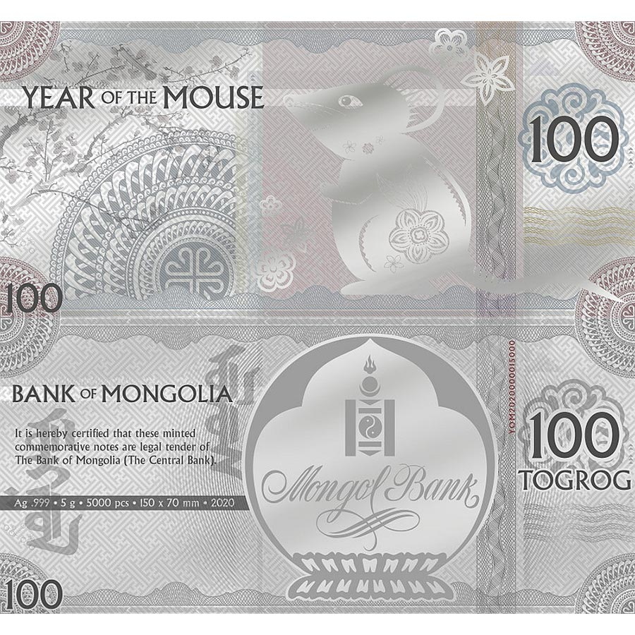 2020 Mongolia 5 Gram Year of the Mouse Minted Silver Bank Note