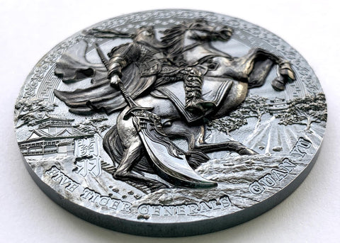 Guan Yu Five Tiger Generals Black Proof Silver Coin