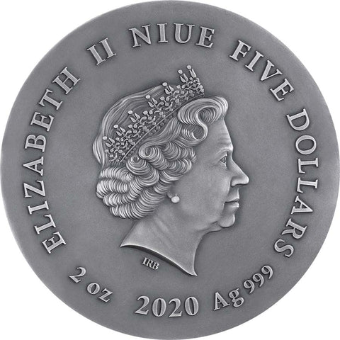 2020 Niue 2 Ounce Gray Wolf High Relief Gilded Silver Coin