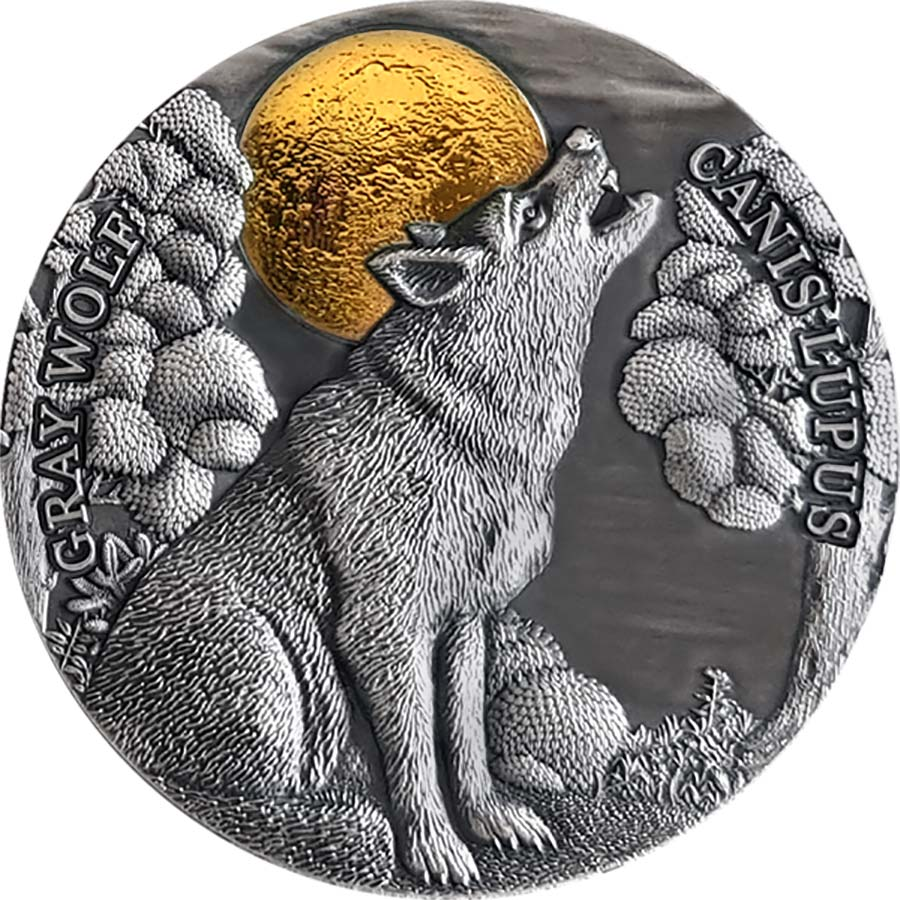 2020 Niue 2 Ounce Gray Wolf High Relief Gilded Antique Finish Silver Coin