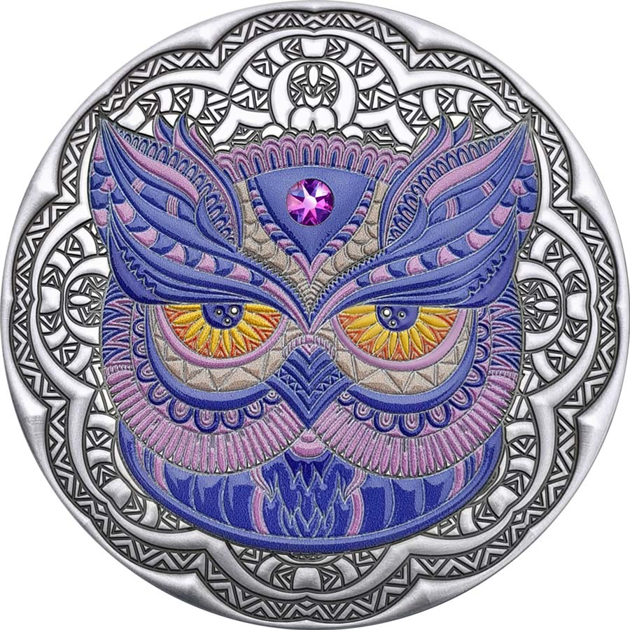 2020 Niue 2 Ounce Mandala Collection Owl Swarovski Crystal Inset Color Silver Coin