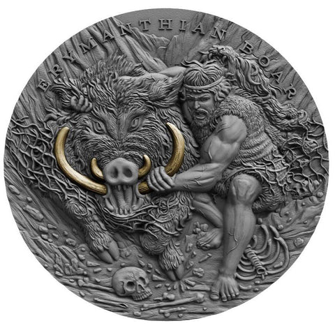 2020 Niue 2 Ounce Twelve Labours of Hercules - Erymanthian Boar High Relief Gold Gilded Antique Finish Silver Coin