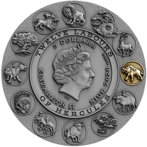 2020 Niue 2 Ounce Twelve Labours of Hercules - Erymanthian Boar High Relief Gilded Silver Coin