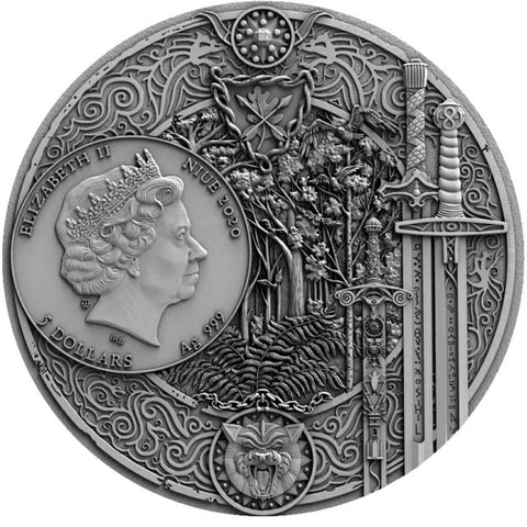 2020 Niue 2 Ounce Witcher Sword of Destiny High Relief Silver Coin