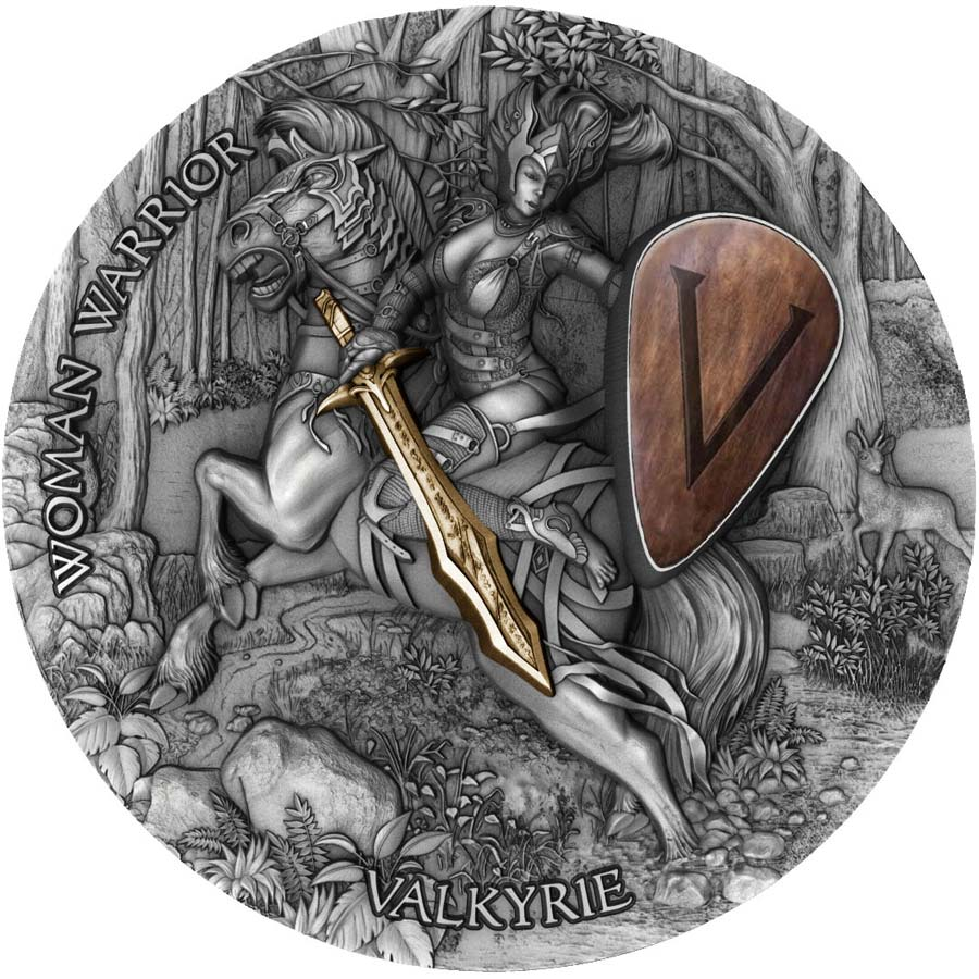 2020 Niue 2 Ounce Woman Warriors Valkyrie High Relief Gold Gilded Antique Finish Wood Inlay Silver Coin