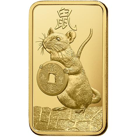 1 Gram Lunar Mouse .9999 Gold Bar