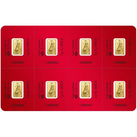 2020 PAMP 8 X 1 Gram Lunar Year Of The Rat Rectangular Gold Bars
