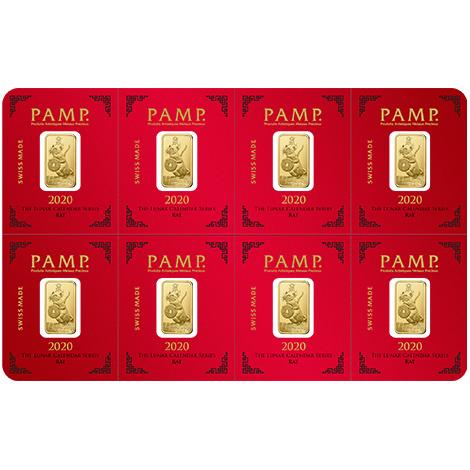 2020 PAMP 8 X 1 Mutligram Lunar Year Of The Rat .9999 Gold Bars - Sealed Assay