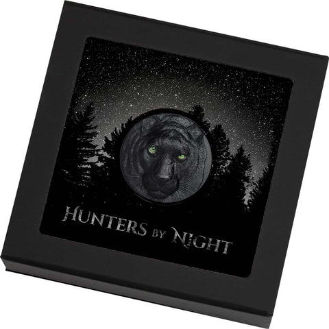 2020 Palau Hunters by Night Black Panther Obsidian Black Silver Coin