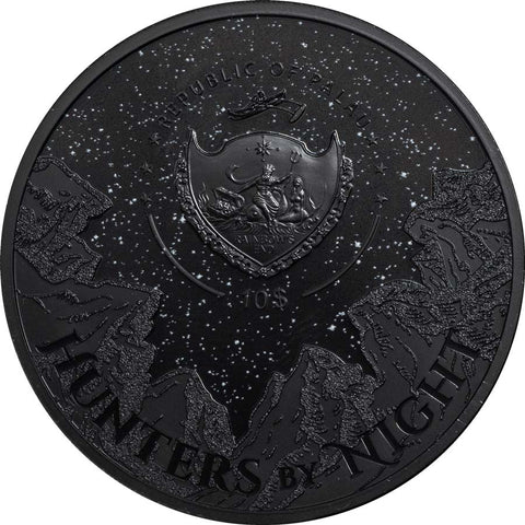 2020 Palau 2 Ounce Hunters by Night Black Panther Ultra High Relief Silver Coin