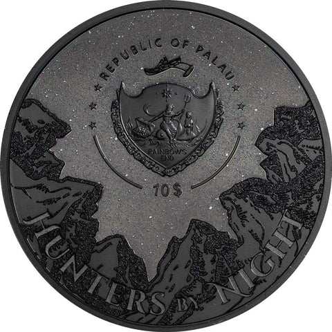 2020 Palau 2 Ounce Hunters by Night Black Panther Silver Coin