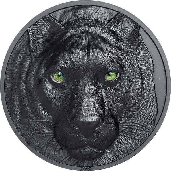 2020 PALAU 2 OUNCE HUNTERS BY NIGHT BLACK PANTHER OBSIDIAN BLACK SILVER COIN