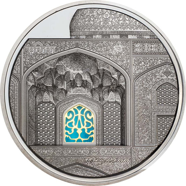 2020 PALAU 5 OUNCE TIFFANY ART ISFAHAN HIGH RELIEF BLACK PROOF SILVER COIN