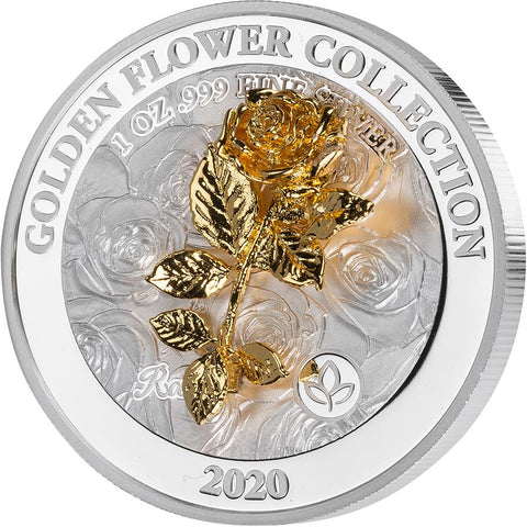2020 Samoa 1 Ounce Rose Golden Flower Collection Silver Proof Coin