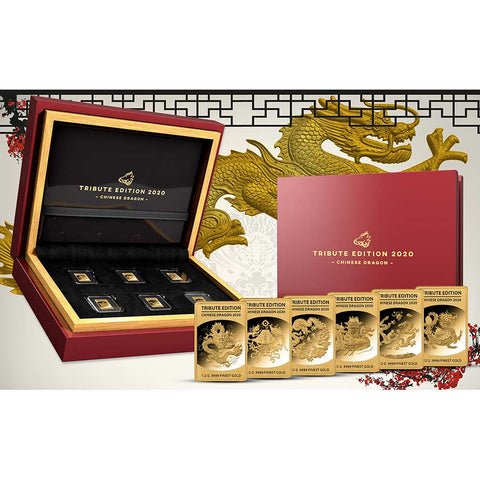 2020 Solomon Islands 6 X 1/2 Gram Tribute Edition Chinese Dragon Gold Coin Collection