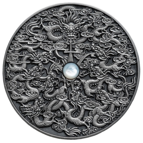 2020 Niue 2 Ounce Chinese Legends Nine Dragons Ultra High Relief Antique Finish Silver Coin