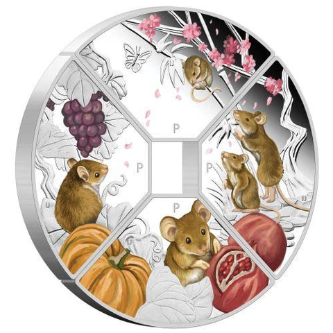 Tuvalu Year of the Mouse Quadrant Colored Silver Proof Coin