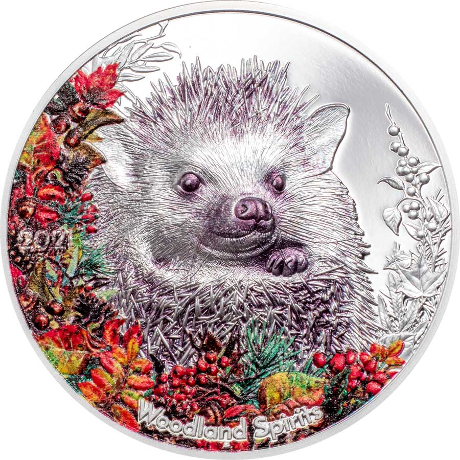 2021 Mongolia 1 Ounce Woodland Spirits Hedgehog High Relief Colored Silver Proof Coin