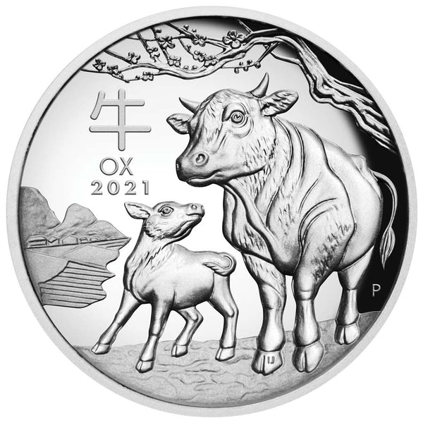 2021 AUSTRALIA 1 OUNCE YEAR OF THE OX HIGH RELIEF SILVER PROOF COIN