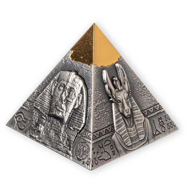2021 DJIBOUTI 5 OUNCE KHAFRE PYRAMID OF GIZA SHAPED SILVER COIN