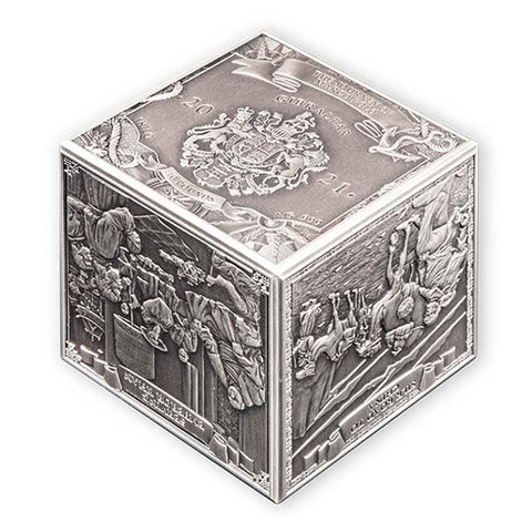 2021 Gibraltar 1 Kilogram Journey of Marco Polo 3D Cube Silver Coin