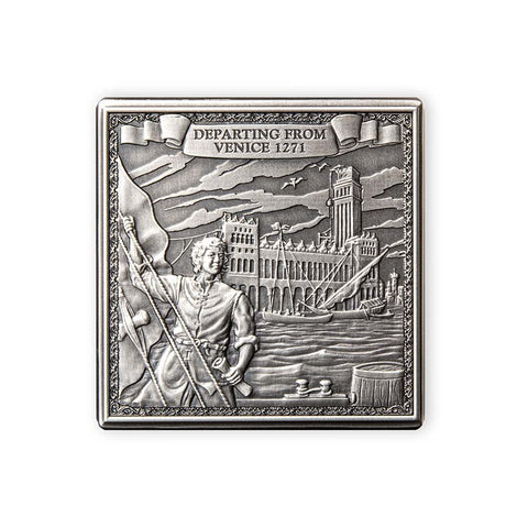 2021 Gibraltar 1 Kilogram Journey of Marco Polo Antique Silver Coin