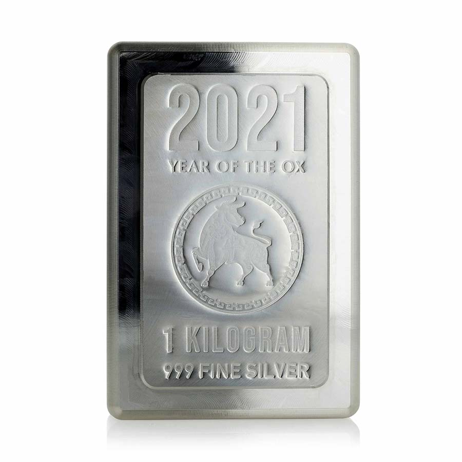2021 Heraeus 1 Kilogram Lunar Year of the Ox Silver Stacker