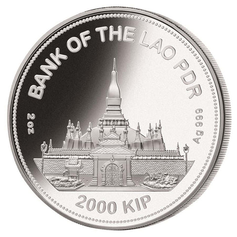 2021 Laos 2 Ounce Lunar Year of the Ox Jade Inlay Silver Proof Coin