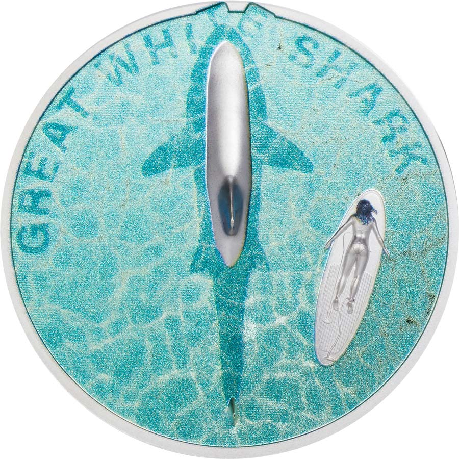 2021 Palau 1 Ounce Great White Shark High Relief Silver Proof Coin