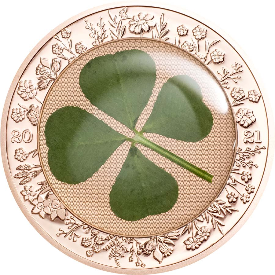 "2021 Palau 1 Ounce ""Ounce of Luck"" Genuine Clover Silver Proof Coin"