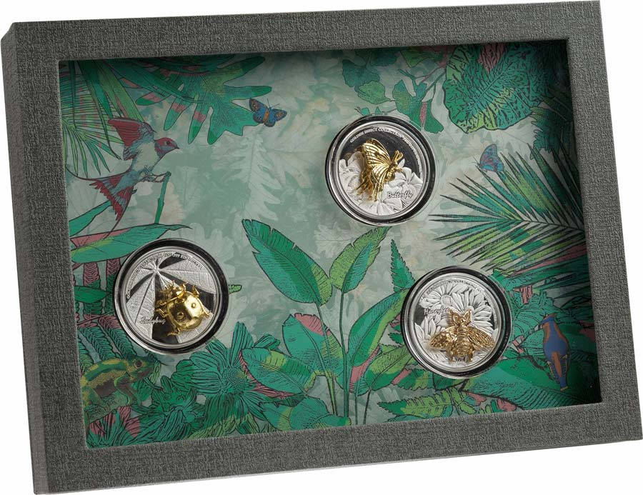 2021 Samoa 3 X 1 Ounce Golden Insect 3D Shaped Silver Proof Coin Collection