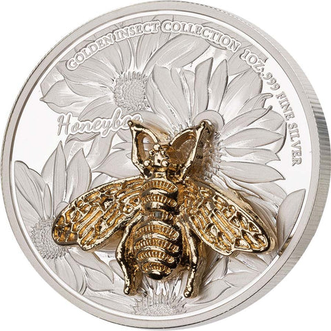 2021 Samoa 3 X 1 Ounce Golden Insect 3D Shaped Honeybee Silver Proof Coin