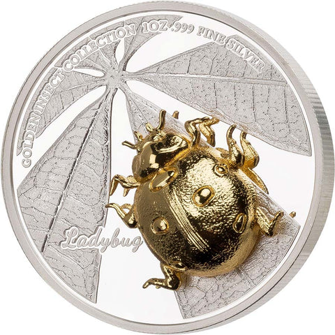2021 Samoa 3 X 1 Ounce Golden Insect 3D Shaped Ladybug Silver Proof Coin