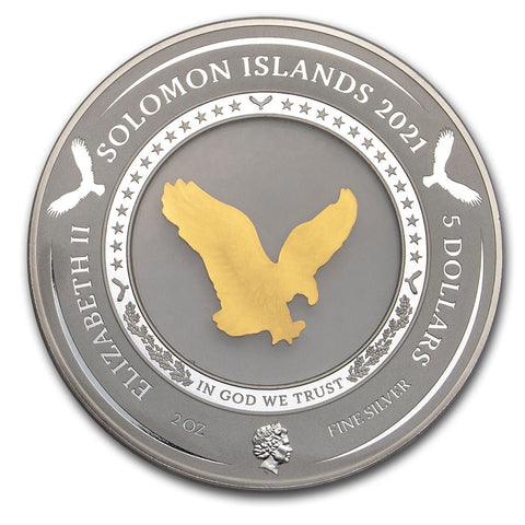 "2021 Solomon Islands 2 Ounce 35th Ann ""Embracing Gold Eagle"" Silver Coin"