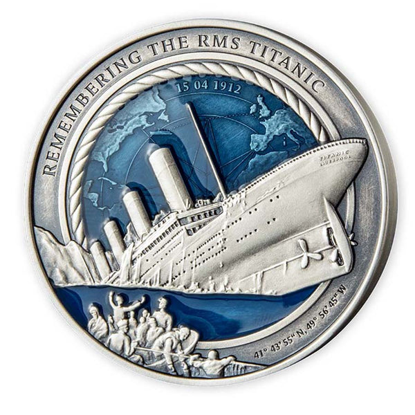 2021 SOLOMON ISLANDS 3 OUNCE REMEMBERING THE RMS TITANIC ENAMELLED SILVER COIN