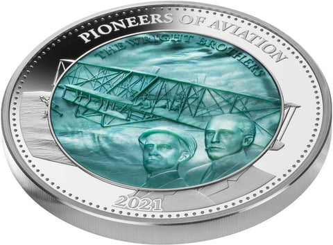 2021 Solomon Islands 5 Ounce Wright Brothers Mother of Pearl Silver Proof Coin