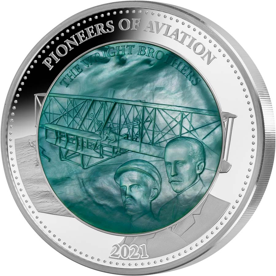 2021 Solomon Islands 5 Ounce Pioneers of Aviation Wright Brothers Mother of Pearl Silver Proof Coin