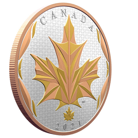 2021 Canada 5 Ounce Maple Leaves in Motion Silver Proof Coin
