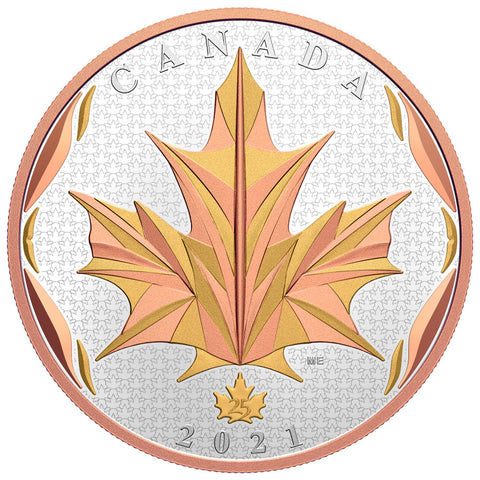 2021 Canada 5 Ounce Maple Leaves in Motion 2-Tone Gold Plated Silver Proof Coin