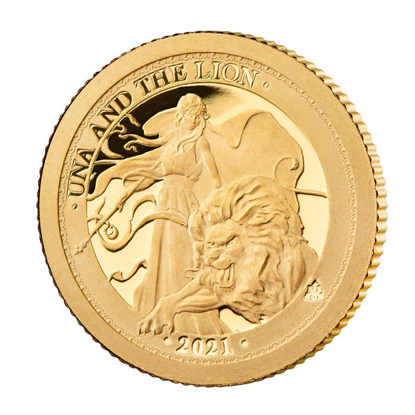 2021 ST. HELENA 1/4 OUNCE UNA & THE LION GOLD PROOF COIN