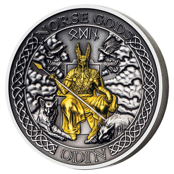 2021 COOK ISLANDS 2 OUNCE NORSE GODS ODIN HIGH RELIEF GOLD PLATED ANTIQUE FINISH SILVER COIN