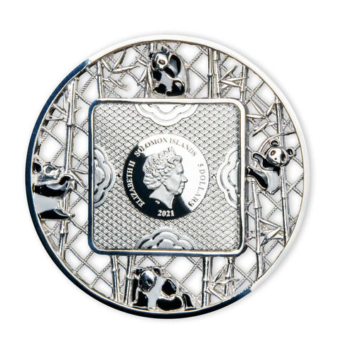 2021 Solomon Islands 2 Ounce Filigree Pandas Silver Coin