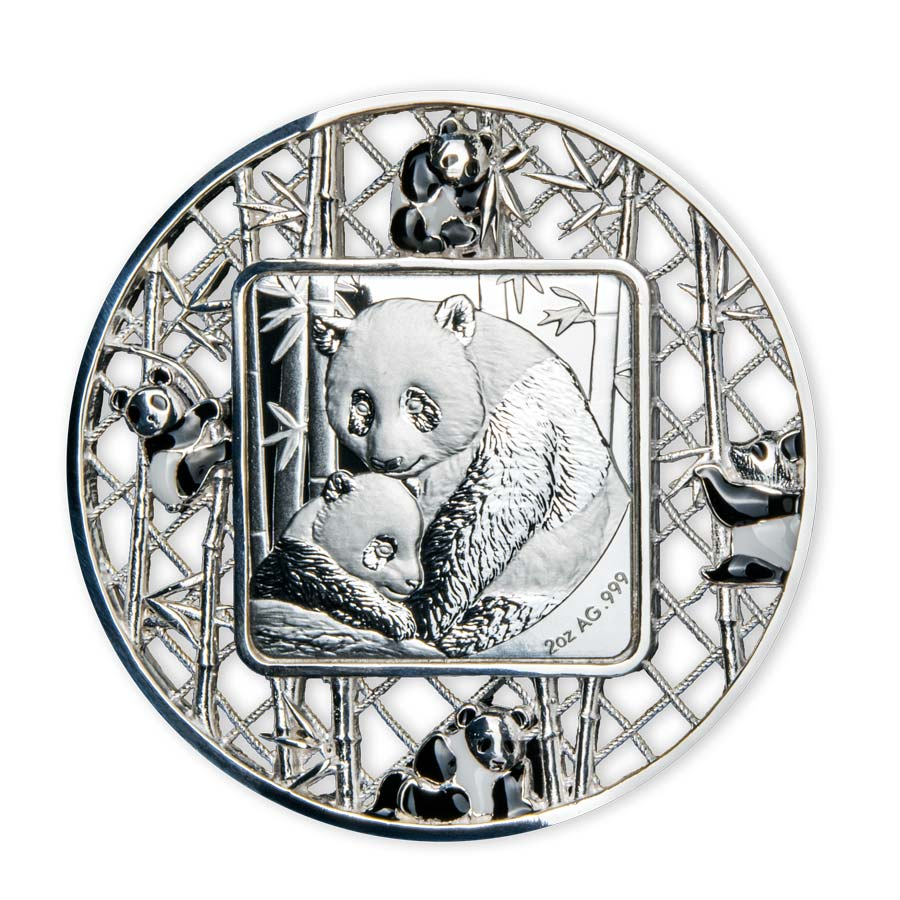 2021 Solomon Islands 2 Ounce Filigree Pandas Proof-Like Silver Coin
