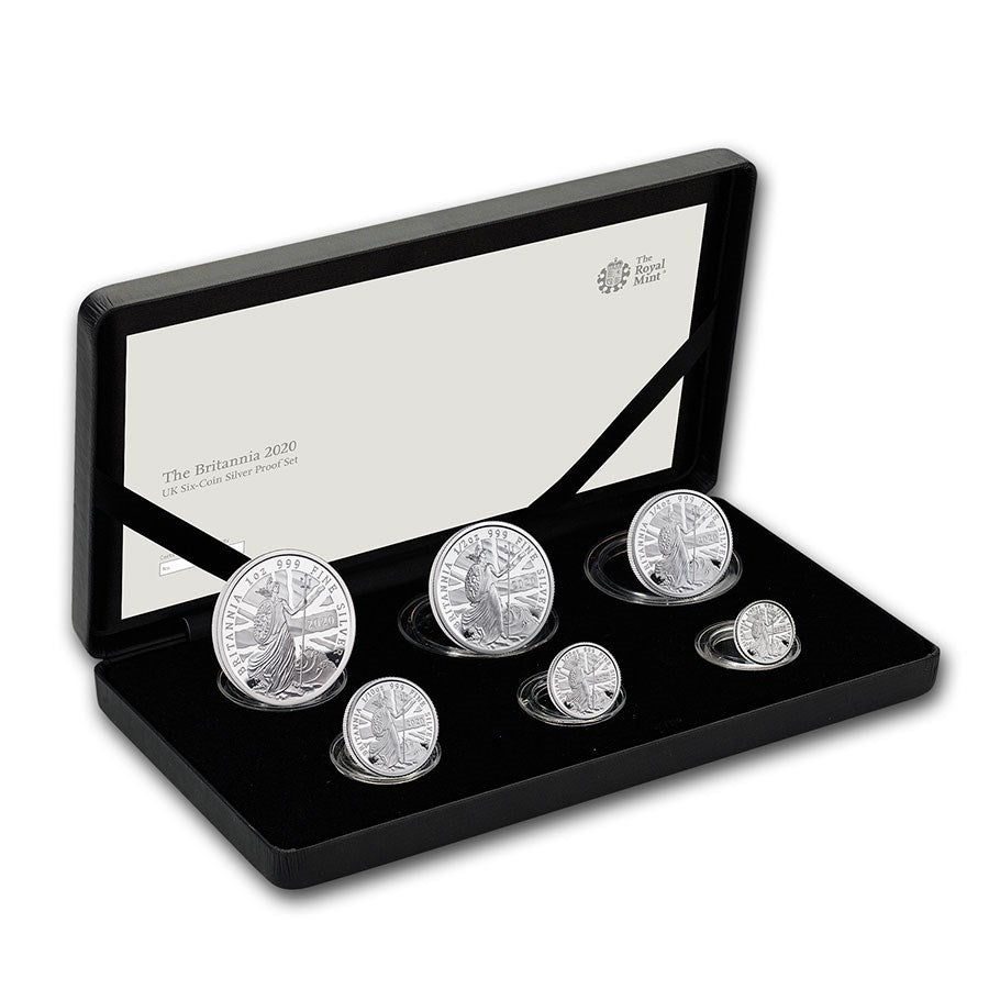 2020 UK 6 Coin Britannia Silver Proof Coin Set